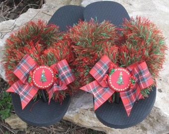 CHRISTMAS TREE Flip Flops, Swarovski Crystals, Satin Buttons, Taffeta Plaid Bows, Holidays, Crochet Fun Fur, Sparkle, Classic, Comfy Wedge