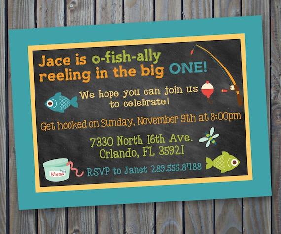 Printable fishing theme birthday invitation fish fishing for Fishing birthday party invitations