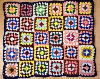 Vintage Crochet Granny Square Multi Color Baby Blanket Pair Handmade Home Decor Wall Hangings