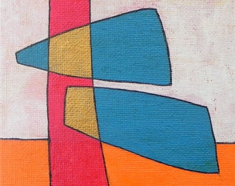 Small Abstract Painting // Canvas Board-Orange-Gold-Red-White-Blue // Handmade Home Decor Gift Australian Art theabstractdaily