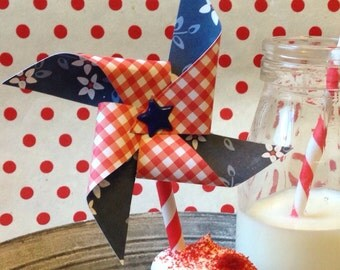 Picnic Pinwheel Cupcake Toppers, set of 12