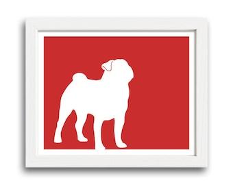 Pug Print - Pug Silhouette (Version 1) - Pug Art, Pug Gift