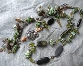 Oak Forest, Multi Green Gemstones, Green Girl Charm, Vintaj Brass, and Irish Waxed Linen Necklace