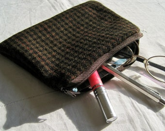 Handmade tweed lined pouch