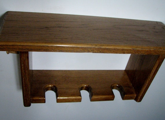 Decorative Oak Wall Shelf With Baseball Bat Rack Display