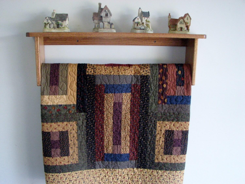Quilt Display Rack With Oak Wall Shelf