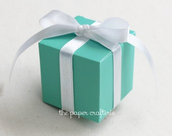 Aqua Blue Green Gift Favour Trinket Paper Box - Set of 20