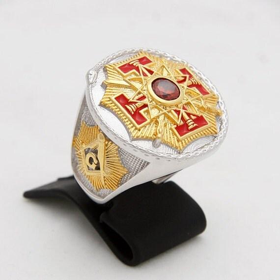 Custom Made Masonic Ring Red Stone 33rd Degree Freemason