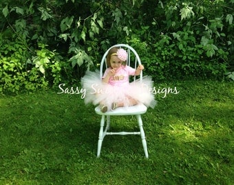 Pink Birthday Tutu and Headband Set..Full Birthday Tutu Set..Smash Cake Tutu Set... Newborn, Baby, Girls Photo Prop Bow