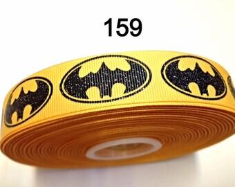 "3 yard - 7/8"" Glitter Yellow Batman Grosgrain Ribbon Hair bow Craft Supply"