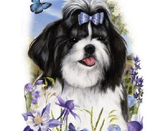 Shih Tzu Floral Dog T SHIRT, Sweatshirt, Quilt Fabric Block Item no. 910a