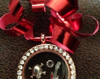 Skull guitar rock 'n roll Christmas ornament joy of shopping Locket