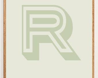 Mid-Century Modern Letter R