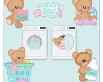 DIGITAL SCRAPBOOKING CLIPART - Marshmallow Laundry Day
