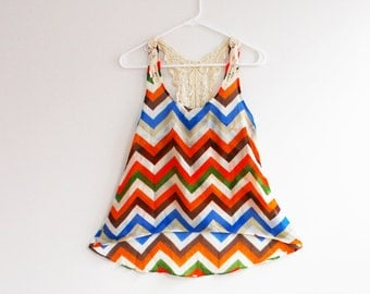 Clearance SALE Mint Chevron Top with Split Back Cute Zig Zag Pattern Chiffon Top in Small, Medium or Large