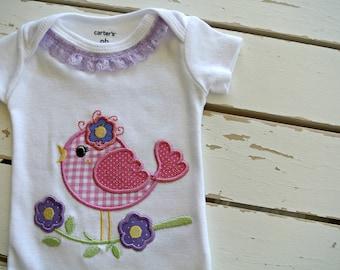 Baby Onesie,  Newborn Onesie,Spring Birdie Onesie, Girls TShirt