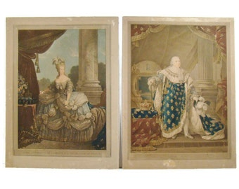 Antique French Lithograph Print - Portrait of Marie Antoinette and Louis Seize (16) the Sixteenth