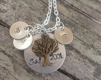 Hand Stamped Est. Family Necklace with Initial Disc