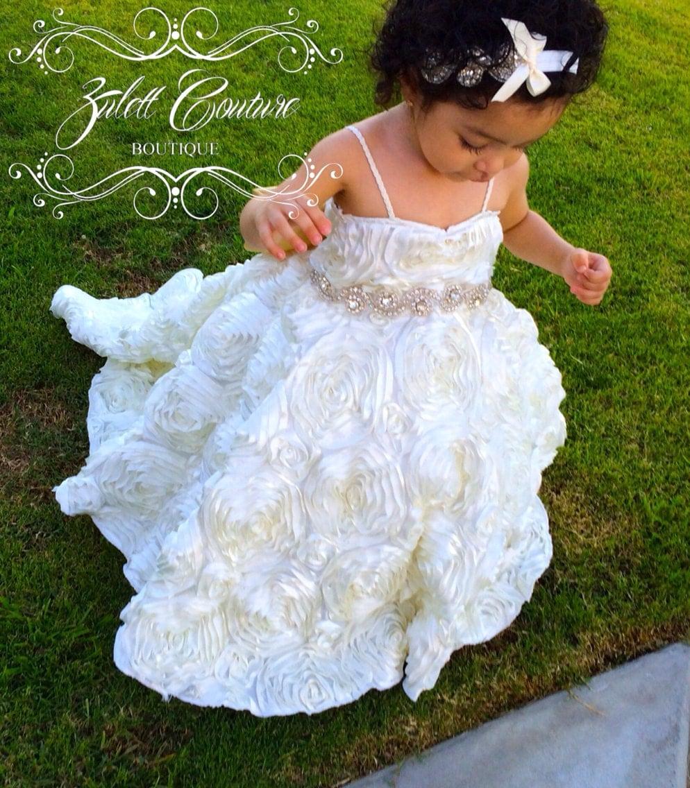 Baptism Dress Mini Bride Dress Flower Girl Dress Rosette