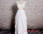 Special Design Wedding Dress V-back Bridal Gown with Champagne Sash Ivory Lace Wedding Gown with Chiffon Skirt