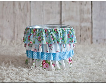 Blue and Pink Ruffle Bucket - Photography Prop