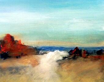 "Seascape #14   8""x8"" Acrylic Painting on Panel"