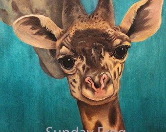 Giraphe print of original oil painting