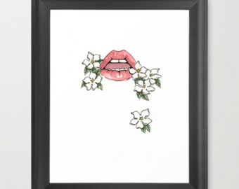 Art Print: Lips and Flowers