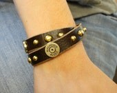 Winchester Colt 45 Shell / Nickel or  Brass Shells / Double Wrap Leather Bracelet/ Studs