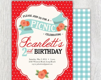 Printable Picnic invitation - Cabbage roses - Gingham - Polka dot - Birthday party - Shower - Engagement party - Customizable