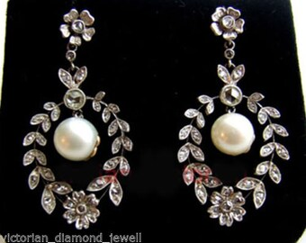 VICTORIAN 3.40ct Antique Cut / Rose cut diamond PEARL Earring, Free shipping worldwide
