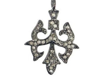 Victorian 1.45ct Rose Cut Diamond Pendant,Free Shipping Worldwide