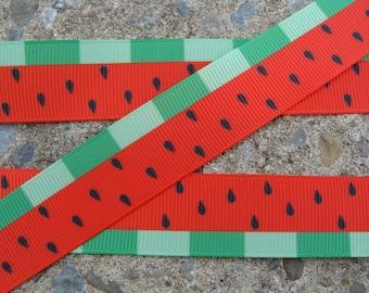 """3 yards Red Watermelon Grosgrain Printed Ribbon 7/8"""" Grosgrain Ribbon Hair Bow Supplies"""