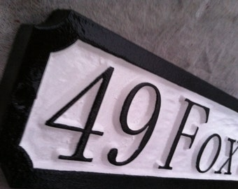 Personalized Address Sign with Street Name - Custom Carved House Number Sign
