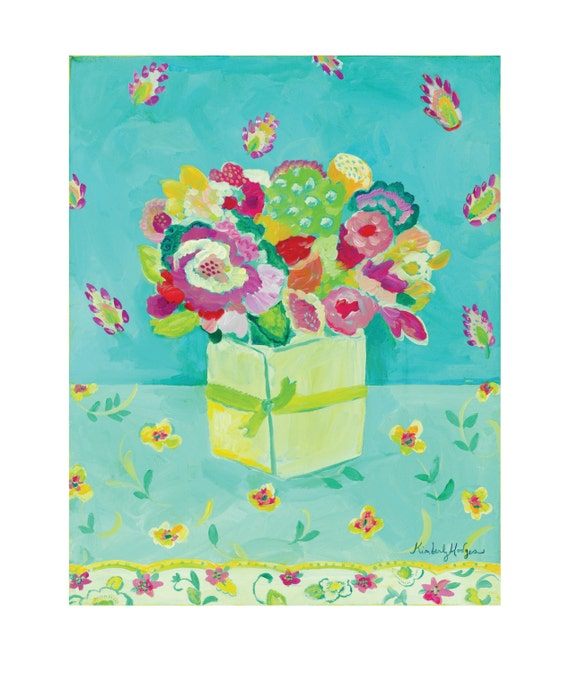 Aqua Paisley Giclee Watercolor or Stretched Canvas Print by Kimberly Hodges, 11 x 14, 16 x 20
