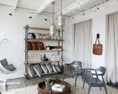 Bookcase Shelving Unit Reclaimed Wood Modern Industrial Storage, Wall Unit, Organization