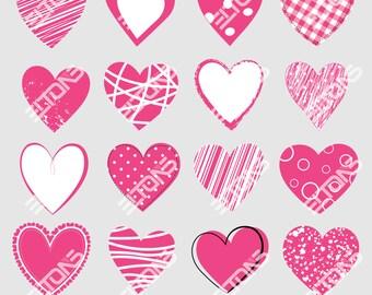 16 Valentine's Hearts Clipart - Pink, Instant Download, DIY