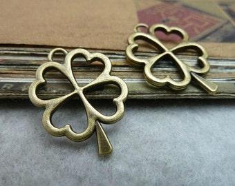 15pcs 17x24mm  Antique Bronze Four Leaf Clover Charm Pendant - Lucky Leaves