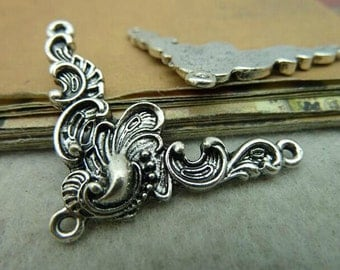 5pcs 28x40mm Antique Silver Triangle Flower Charms Connector Link Charm Pendant