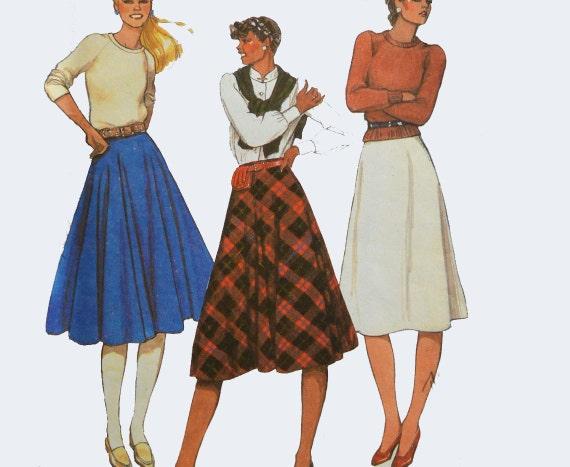 vintage 80s skirt pattern high waist circle skirt pattern