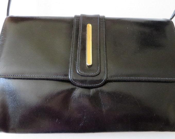 Black Leather Bag, Vintage Shoulder Bag,  1960s Black Purse, Mod Style Long Handled Bag