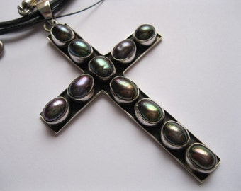 75mm Black Pearl Cross on Leather Necklette.
