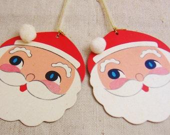 Vintage Paper Santa Claus Ornaments - New Old Stock - Japan