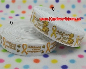 3 yards Childhood Cancer Awareness - 7/8 inch or 1 inch Printed Grosgrain Ribbon - CHOOSE DESIGN