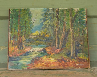"""Old Oil Painting by J Koning Oil on Canvas Landscape 18"""" by 14"""""""
