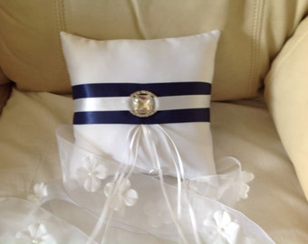 Ring Bearer Navy and White Pillow (Free Shipping)