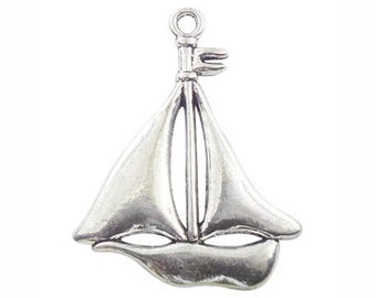 2 Silver Sailboat Pendant 49x38mm by TIJC SP0932