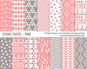 "Tribal ""DIGITAL PAPER"" Aztec inspired Ethnic Pattern  - Pink"