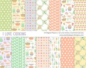 "I Love Cooking Digital Paper  ""COOKING DIGITAL PAPER""  Digital paper for scrapbooking, cardmaking. Commercial License for Small Business."