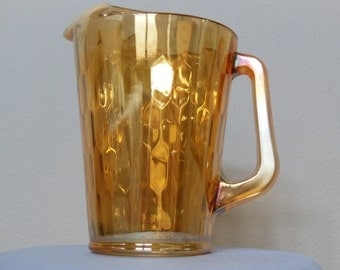 "Carnival Glass; Jeannette Glass Company, ""Honeycomb"" Pitcher"